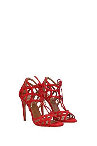 GINHIGS0SUEF00LIPSTICK Aquazzura Sandale Femme Chamois Rouge Rouge