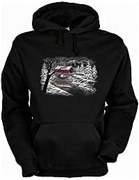 Hoodie (Kapuzensweatshirt) mit schönem Wintermotiv: Winterlandschaft Farbe schwarz