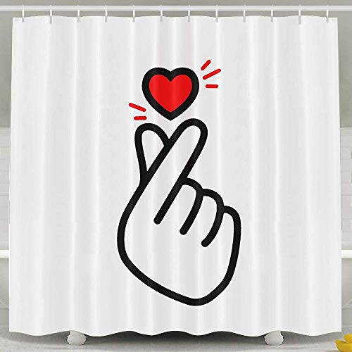 Shower Curtain Set, Bathroom Accessories Shower Curtain Set with Rings for Men Women Kids, Korean Finger Heart Funny White 60 X 72 Inch (Wedding Pink Ring Sets Womens)