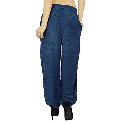 Hippie tibétaine femmes Harem Yoga Aladdin Casual Pantalons Pantalons indienn Bleu
