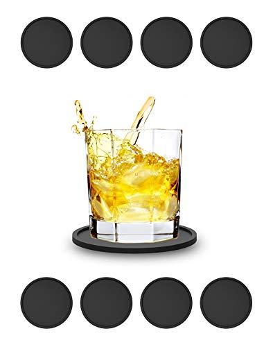 StayTrends 8X Silikon-Untersetzer Profiqualität lebensmittelecht Bar-Zubehör(8 Stück) Gummiuntersetzer für Bar, Küche, Wohnzimmer, Schwarz