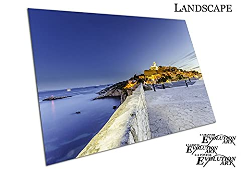 Blue evening skies over old town Ibiza island Sun Sea Spain - Roll Up Banner Textured Size A1