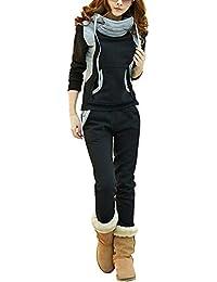 BYD Femmes Survêtement Suit Col Haut Manches Longues Pullover Sweatshirt à Capuche Avec De Grosses Poches + Pantalon 2pcs Jogging Sportswear