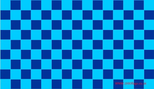 1000 Flags Navy blau und Sky Blue Check 5'x3' Flagge -