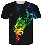 uideazone Mens 3D Print Hipster Chemise à Manches Courtes Casual Graphics Tees (Colorful Skull, L)