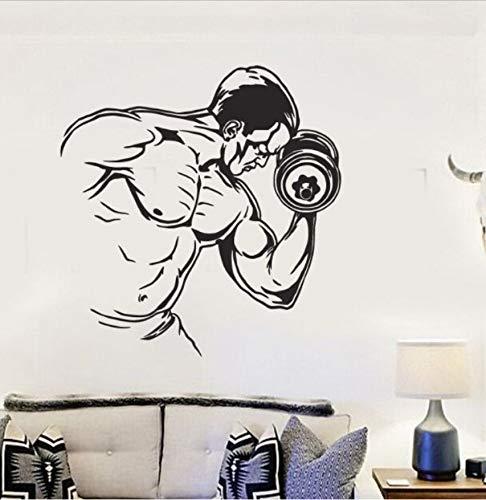 Wandaufkleber Sport Wandbild Bodybuilding Mann PVC Wandtattoo Fitnessstudio Fitness Hantel Sport Wallpaper Gym Sport Decor 57X59Cm