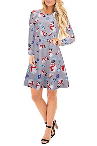 YMING Damen Langarm Kleid Lose T-Shirt Kleid Rundhals Casual Tunika Mini Kleid 14 Farben,XS-XXXXL Xmas-Schneemann-Grau