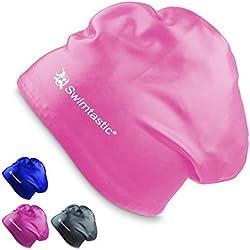 Swimtastic – Gorro para Pelo Largo – Especialmente Diseñado para Nadadores con Pelo Largo, Grueso o Rizado