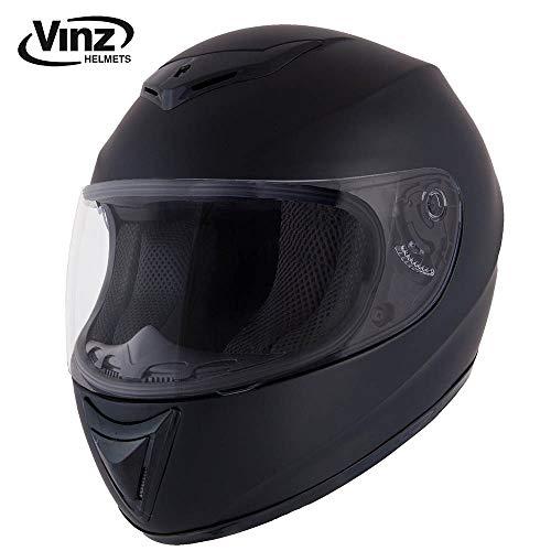 Vinz Integralhelm Basic   Motorradhelm in Gr. XS-XL   Integral Helm mit Visier (M (57-58 cm), Matt Schwarz)