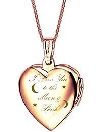 "ixiqi joyería medallón grabado ""I Love You To The Moon And Back"" Titanio Corazón infinity love Collar con camafeo collares regalo presente para mujer foto, 45cm cadena"
