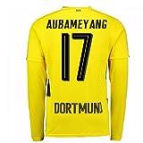 2017-18 Borussia Dortmund Long Sleeve Home Football Soccer T-Shirt Trikot (Pierre-Emerick Aubameyang 17)