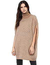 Cayman Women Beige Self-Design Woollen Poncho Sweater