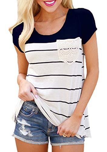 Flying Rabbit Damen Shirt Sommer Kurzarm Farbblock Streifen Tops Rundhals Bluse, Stil2-marine, XL