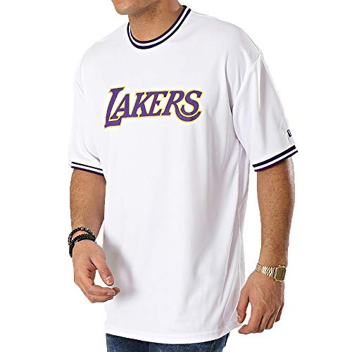 A NEW ERA Era NBA Los Angeles Lakers Tipping Wordmark Camiseta Hombre Blanco L (Large)