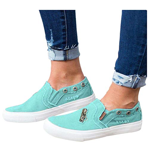 Billige Bequeme Sportschuhe für Damen/Dorical Frauen Canvas Sneaker, Low Übergrößen Flandell Top Basic Turnschuh Textil Schuhe/Schwarz, Blau, Beige, Pink 35-43 EU(Blau,42 EU)