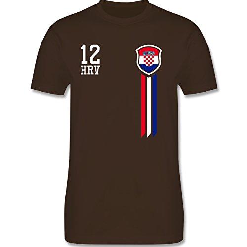 Fußball-Weltmeisterschaft 2018-12. Mann Kroatien Fan-Shirt - M - Braun - L190 - Herren T-Shirt Rundhals