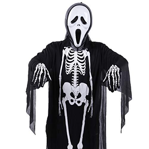 Für Cape Erwachsene Ghost Black Kostüm - LGP Halloween Horror Black Skeleton Ghost Erwachsene Cosplay Ghost Party Tod Teufel Hölle Weiß Ghost Kostüm Einschließlich Skeleton Kleidung, Maske, Stoffhandschuhe,Blackc