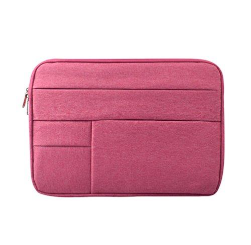 Yuncai Notebooktasche 11.6-15.6 Zoll Multifunktional Wasserdicht Stoßfest Laptop Handtasche Für Macbook Rose Pink 14.1Inch