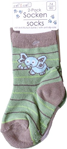 2er Pack Baby ABS-Socken - Anti-Rutsch Elefant und Giraffe - Grün/Weiß/Mehrfarbig (Kinder-socken Giraffe)