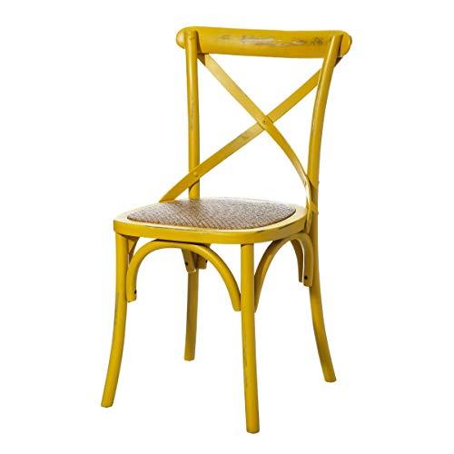 Silla de madera amarilla de comedor vintage