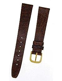 Fortis Swiss Reloj de pulsera piel marrón con costura marrón 16mm oro 8800