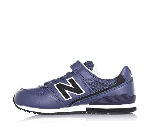 NEW BALANCE - Chaussure de sport bleue, en cuir, avec velcro, lacets élastiques, logo latéral et à l'arrière, coutures visibles et semelle en caoutchouc, garçon, garçons Bleu