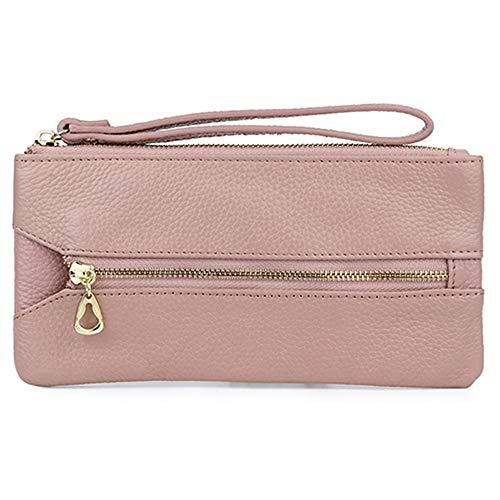 Key Wallets Lange Unisex Key Wallets Leder Reißverschluss Geldbörsen mit Handseil, Pink -