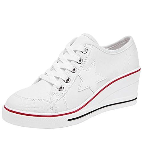 Solshine Damen Canvas Sportlich Low Top Keilabsatz Schnürer Sneaker-Wedges Sportschuhe weiß 38 EU / 4.5 UK / 6.5