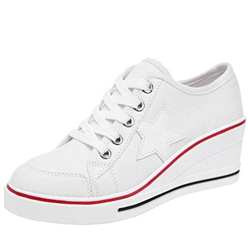 Solshine Damen Canvas Sportlich Low Top Keilabsatz Schnürer Sneaker-Wedges Sportschuhe weiß 37 EU / 4 UK / 6 US