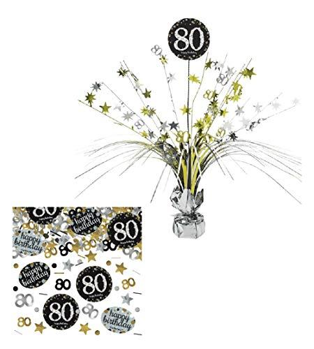 Feste Feiern Tischdekoration 80. Geburtstag I 2 Teile Tischaufsatz Tischaufsteller Kaskade Konfetti Gold Schwarz Silber metallic Party Deko Set Happy Birthday 80