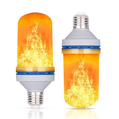LED-Flammen-Effekt-Glühbirne – 4 Modi mit Upside Down Effekt – 4 W – E27 Sockel Atmosphäre, Dekoration Feuer flackernd, künstliche Lichter auf Weihnachten, Halloween, Feiertage, 2 Packungen