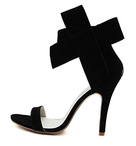Wealsex Escarpins Sandales Suédé Nœud à Deux Boucles Talon Moyen Aiguille Cheville Bout Ouvert Chaussure Talon Sexy Ete Femmes Noir