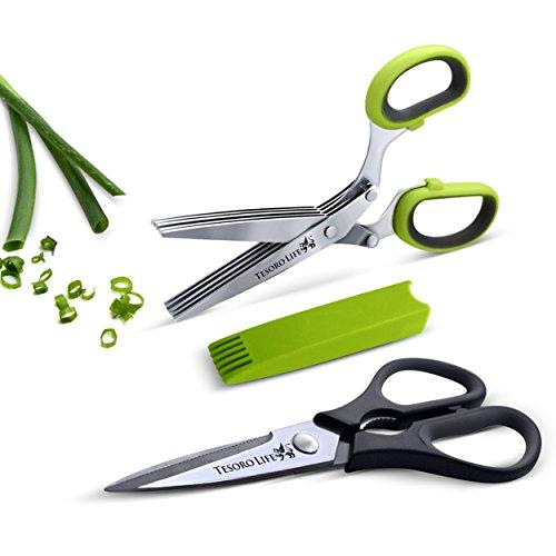 Shear Genius - Set di forbici da cucina robuste, forbici a 5 lame per erbe aromatiche e pettine di pulizia - lame in acciaio inox, design ergonomico e manici in gomma morbida