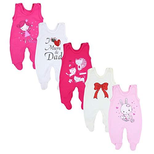 TupTam Baby Unisex Strampler mit Aufdruck Spruch 5er Pack, Farbe: Mädchen, Größe: 74
