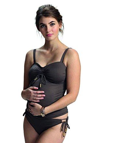 Petit Amour Umstands-Tankini ☀️ Schwangerschafts-Bikini Cameron Bademode Set Oberteil Unterteil Burned Umber Cup F bis G Gr. L ☀️