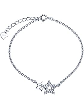 Unendlich U Fashion Doppel Sterne Damen Armband 925 Sterling Silber Zirkonia Armkette Verstellbar Charm Armkettchen...