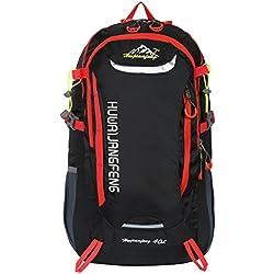 HWJIANFENG 30L Mochilas de Senderismo para Montaña de Acampadas de Ordenador al Aire Libre de Nylon de Diaria Mochilas de Excursion para Viajes Unisex de Ciclismo color Negro