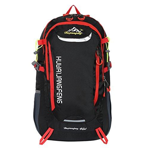 HWJIANFENG Zaino 40L Unisex Sportivo Viaggio Outdoor Trekking Bici Montagna Alpinismo Impermeabile Nero Zaino Porta PC Quotidiano Nero