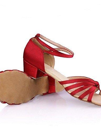 ShangYi Chaussures de danse ( Multicolore ) - Non Personnalisables - Talon Bottier - Satin / Similicuir - Latine black and gold