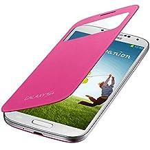 Samsung S-View - Funda para móvil Galaxy S4 (Pantalla frontal, teclas laterales), color rosa