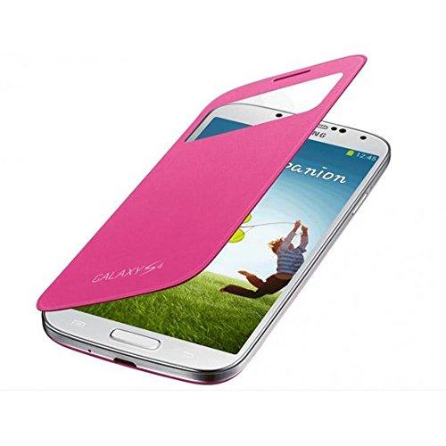 Samsung S-View - Funda para móvil Galaxy S4 (Pantalla frontal, teclas laterales), color rosa- Versión Extranjera