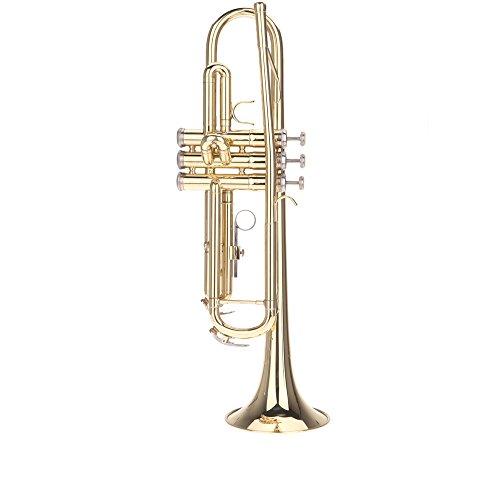 Andoer® Trompete Bb B Flache Blechbläser Vorzügliche mit Mundstück Handschuhe