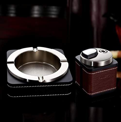 Honest Gute Qualität Luxus Büro Elegant Groß Leder und Metall Stilvoller Aschenbecher mit Feuerzeug schwarzes Set