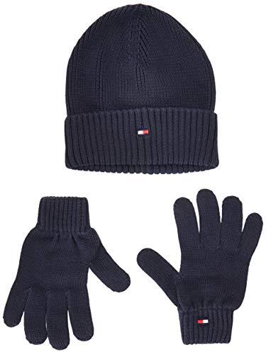 Tommy Hilfiger Flag Knit Beanie & Gloves Gp conjunto bufanda, gorro y guantes, Blue Cjm, Talla única...