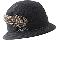Sunbohljfjh De Gama Alta de Manga Corta Vestido de Plumas de Moda Retro Street Show cúpula Sombrero de Paja Gorra Sombrero 56 * 58 cm