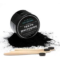 Poudre de Blanchiment des Dents, Extrait Naturel de Noix de Coco Charbon Actif Poudre de Charbon Blanchisseur de Dents, avec 3 Bambou Brosse à Dents Kit pour Nettoyage Oral