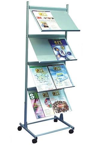 Deflecto A3freistehend 4Regal Literatur Display Einheit–Silber