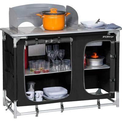 Berger Campingküche mit Spüle, schwarz/grau, Alu-Gestell, Maße B 116 x H 83 x T 52 cm, Aufbau-Schrank