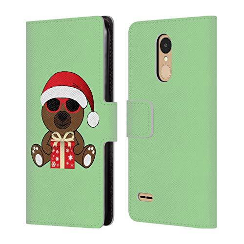 Head Case Designs Offizielle PLdesign Santa BAER Mit Sonnenbrillen Weihnachten Brieftasche Handyhülle aus Leder für LG K8 / K9 (2018)