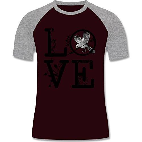 Statement Shirts - Love Vogel Ranken - zweifarbiges Baseballshirt für Männer Burgundrot/Grau meliert